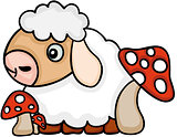 Cute sheep with mushrooms