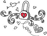 Love padlock design outline
