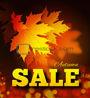 Autumn sale background with leaf texture on the lettersh and bokeh.