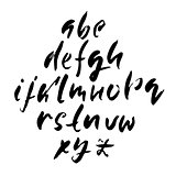 Hand drawn dry brush font. Modern brush lettering. Grunge style alphabet. Vector illustration.