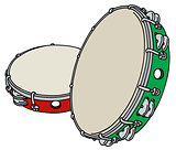 Red and green tambourine
