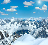 Mont Blanc mountain massif (sunshiny view from Aiguille du Midi