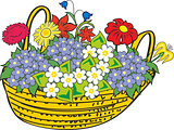 Basket of miscellaneous flowers