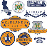 generic stamps and signs of Redlands, CA