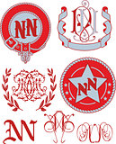 Set of NN monograms and emblem templates