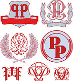 Set of PP monograms and emblem templates