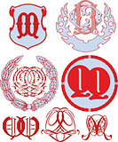 Set of QQ monograms and emblem templates