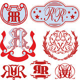 Set of RR monograms and emblem templates