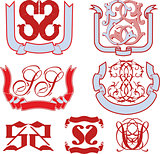 Set of SS monograms and emblem templates