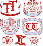 Set of TT monograms and emblem templates