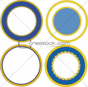 Set of round naval emblem crest templates