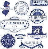 Plainfield, NJ. Set of generic stamps and signs
