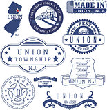 Union township, NJ. Set of generic stamps and signs