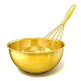Golden bowl with a wire whisk. 3D