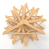 Wooden hangers, star arranged. 3D