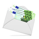 Euros in envelope. 3D