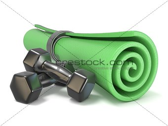 Green fitness mat and black weights. 3D