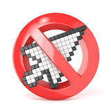 Forbidden sign with arrow mouse cursor. 3D
