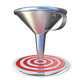 Empty steel funnel and red target