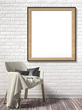 Blank picture frame with white armchair. Mock up poster. 3D