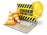 Laptop with safety helmet and traffic cones. 3D rendering - conc