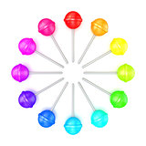 Colorful lollipops, circle arranged. Top view. 3D