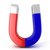 Red and blue horseshoe magnet