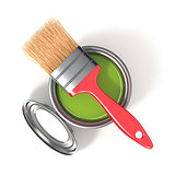 Metal tin can with green paint and paintbrush. Top view. 3D