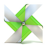 Pinwheel toy, four sided. 3D