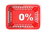 0 percent discount tag in red shopping basket. 3D