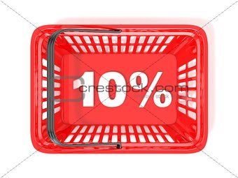 10 percent discount tag in red shopping basket. 3D