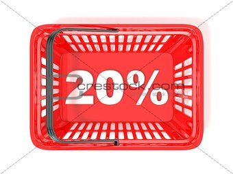 20 percent discount tag in red shopping basket. 3D