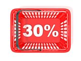 30 percent discount tag in red shopping basket. 3D