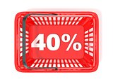 40 percent discount tag in red shopping basket. 3D