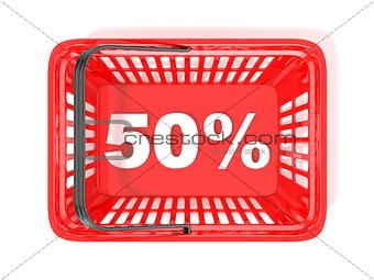 50 percent discount tag in red shopping basket. 3D