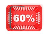 60 percent discount tag in red shopping basket. 3D