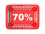 70 percent discount tag in red shopping basket. 3D