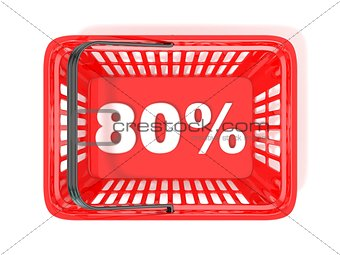 80 percent discount tag in red shopping basket. 3D