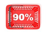 90 percent discount tag in red shopping basket. 3D