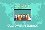 customer feedback concept with star rating and laptop