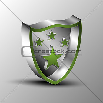 3d illustration of a stars isometric in on metal shield
