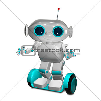 3d Animation White Robot on Scooter