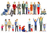 Group of families, Generation together, illustration