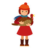 Vector illustration cute little girl holding a big turkey isolated on white background for Happy Thanksgiving Day celebrations.