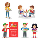 Fast food restaurant. People figures isolated on white background.