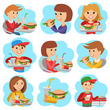 Fast food restaurant. People icones isolated on white background.