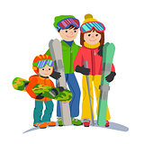 Family skiers vacations in the mountains. Illustration couple parents and child winter sport isolated white background flat style.
