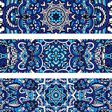 Festive tribal ornamental blue geometric vector ethnic banner set