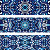 Festive tribal ornamental blue geometric vector ethnic banner set