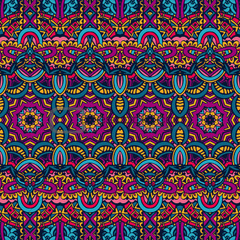 Abstract festive colorful ethnic tribal pattern